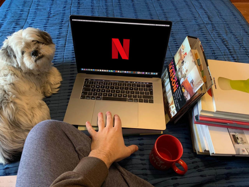 Sitting home watching netflix with a dog